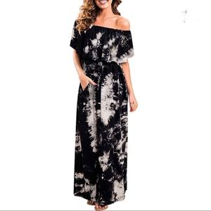 🌺Off The Shoulder Side Slit Tie Dye Maxi Dress XL